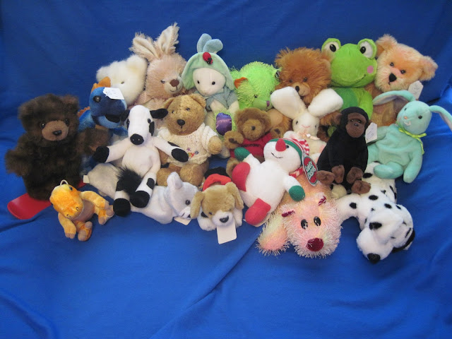 Stuffed animals for Operation Christmas Child shoeboxes.