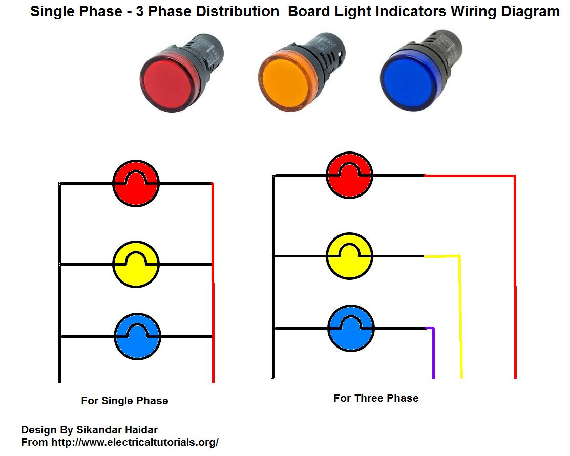 Distribution Board Lights Indicator Wiring Diagram For Single Phase And 3 Phase