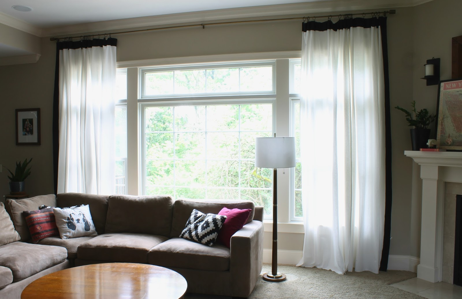 White Curtains With Black Trim DIY