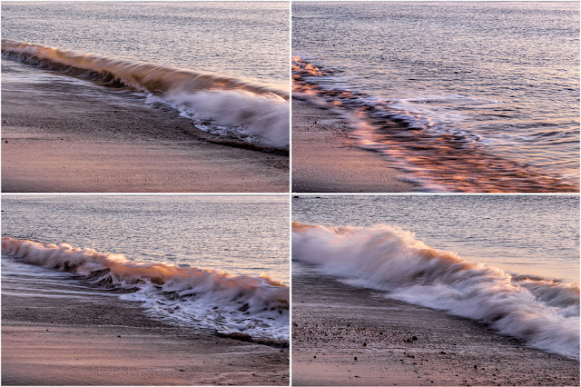 Four images of breaking waves on the beach at Swanage on the Dorset coast