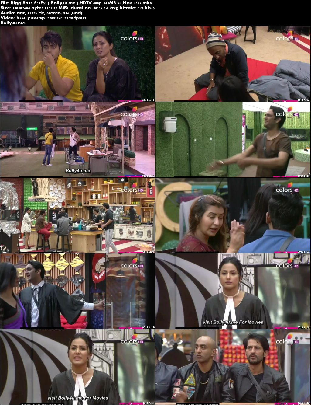 Bigg Boss S11E53 HDTV 480p 140MB 22 November 2017 Download