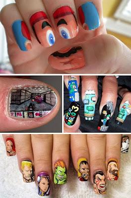 Mario Bros nail designs