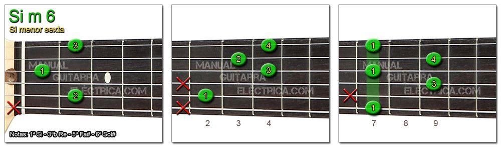 Acordes Guitarra Si menor Sexta - B m 6