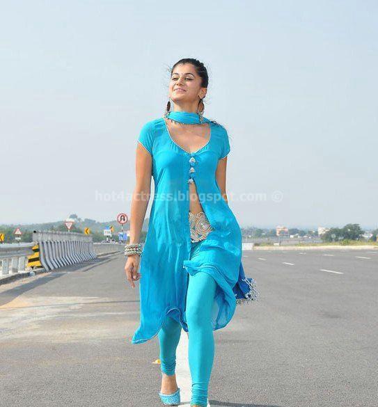 Tapsee Hot Show In Mogudu wearing blue salwar kameez