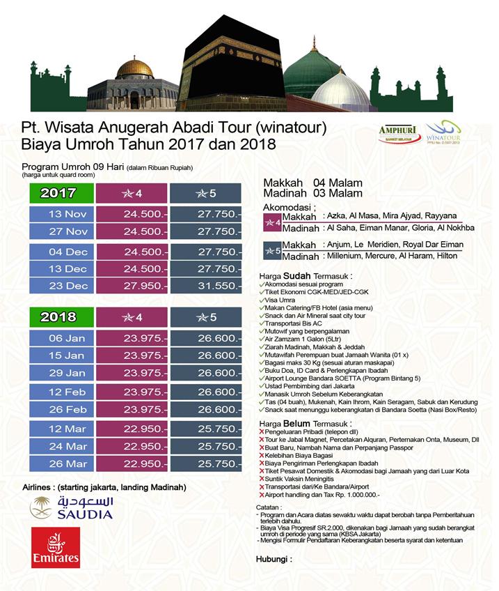Jadwal Paket Umroh Januari 2018