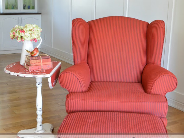 A Red Painted Wingback Chair - change the color NOT the fabric!