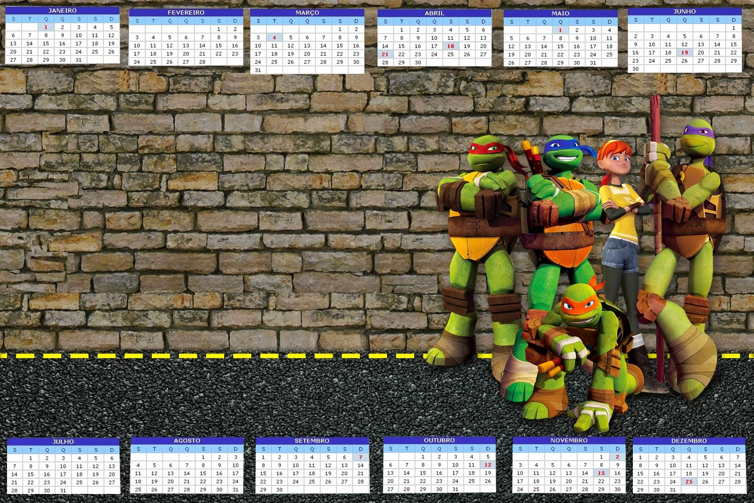 Ninja turtles free party printables and invitations oh my fiesta 2014 free printable calender filmwisefo Image collections