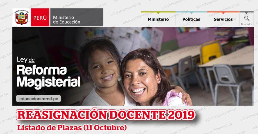 MINEDU: Plazas para Reasignación Docente 2019 (Nivel Nacional) www.minedu.gob.pe