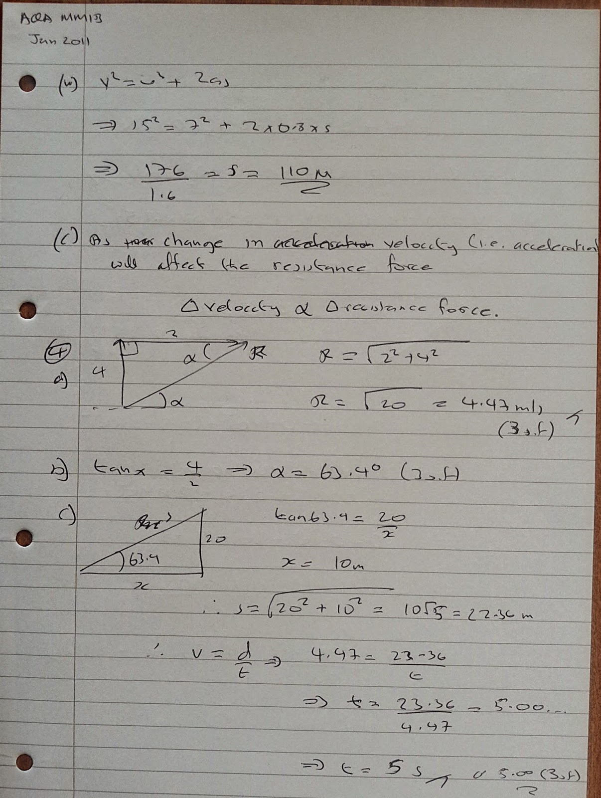 A Level Maths Notes: AQA Machanics 1 (MM1B) Winter 2011