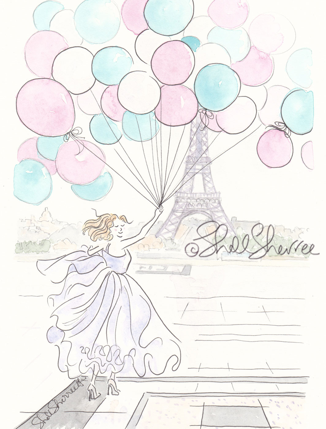 Eiffel Tower Paris, Balloons and Ballgowns fashion illustration © Shell Sherree