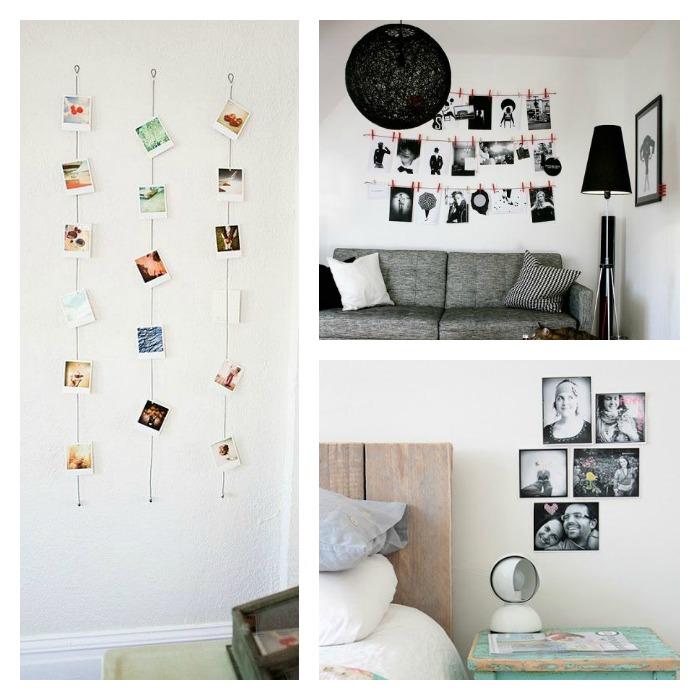 fotos colgadas en cuerdas, haciendo murales,