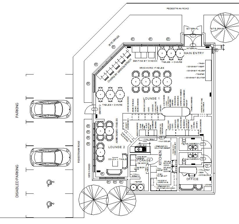 Architecture & Interior Designs: A Coffee Shop Floor Plan