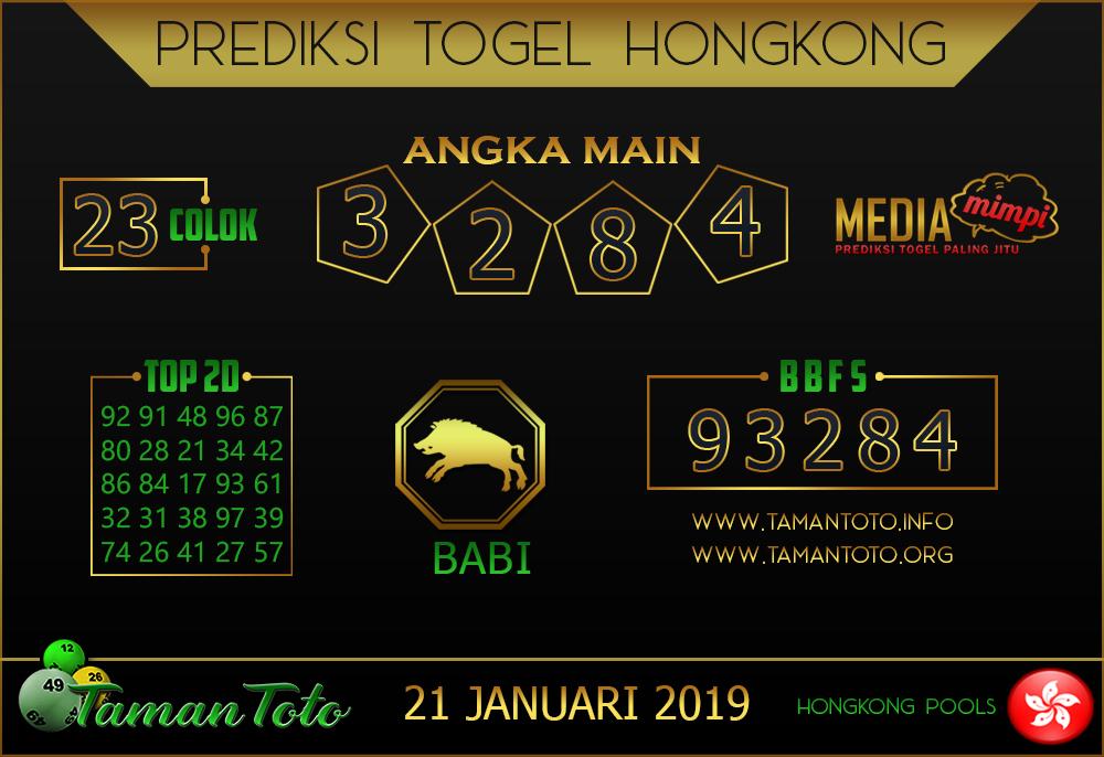 Prediksi Togel HONGKONG TAMAN TOTO 21 JANUARI 2019
