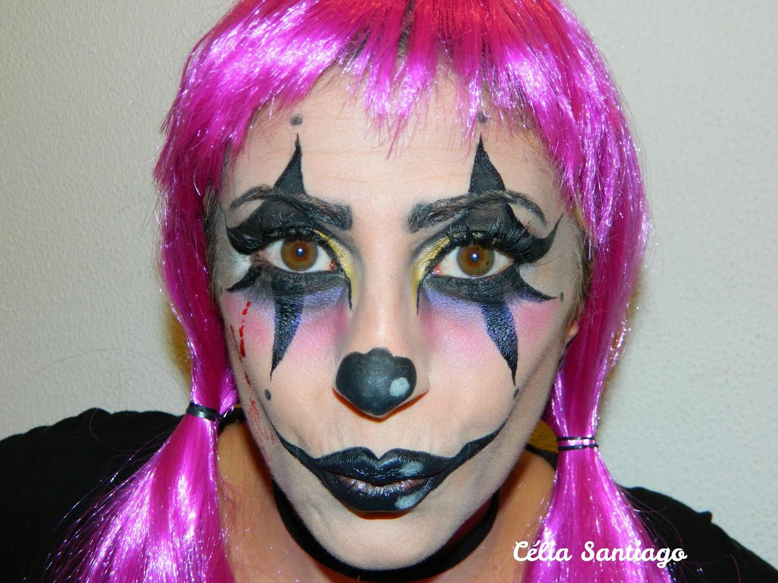 diário feminino maquilhagem artística halloween dia 3 palhaço