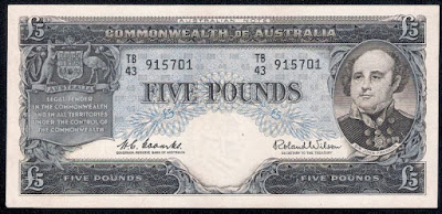 Commonwealth of Australia 5 Pounds banknote 1960 Rear-Admiral Sir John Franklin