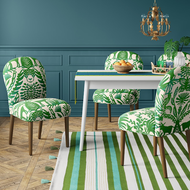 green and cream dining chairs