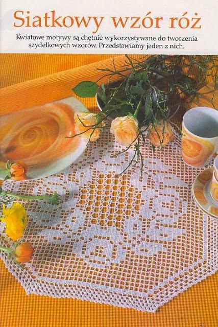 Carpeta tejida al crochet - técnica filet con esquema