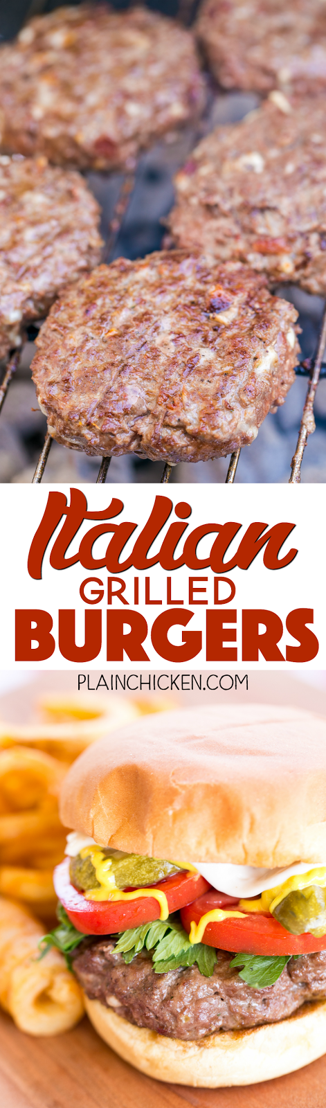 Italian Grilled Burgers - seriously delicious burger! Bursting with flavor!!! This makes a lot of burgers - great for a crowd and can freeze uncooked burgers for later. Hamburger meat, eggs, Italian salad dressing mix, bacon, bread crumbs and mozzarella cheese. We ate these two days in a row. SO GOOD!!! A great, quick and easy hamburger recipe!!