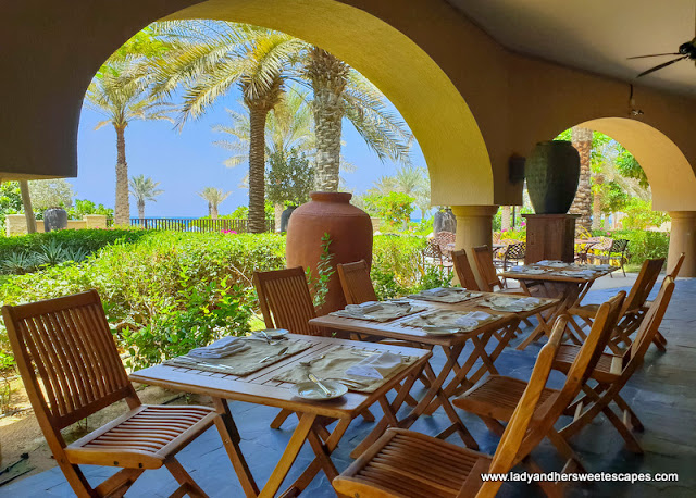 outdoor lunch in Sir Bani Yas