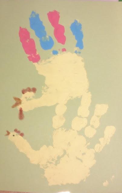 pääsiäisaskartelu ohje käden jälki kukko kana
