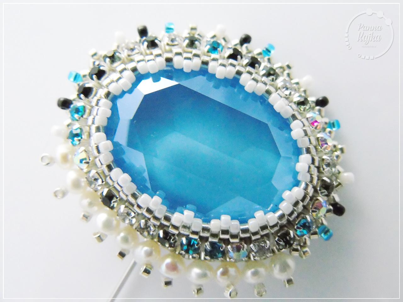 broszka, rękodzieło, handmade, biżuteria, jewellery, perły, perły seashell, taśma cyrkoniowa, swarovski, swarovski oval, miyuki delica, toho round, toho,