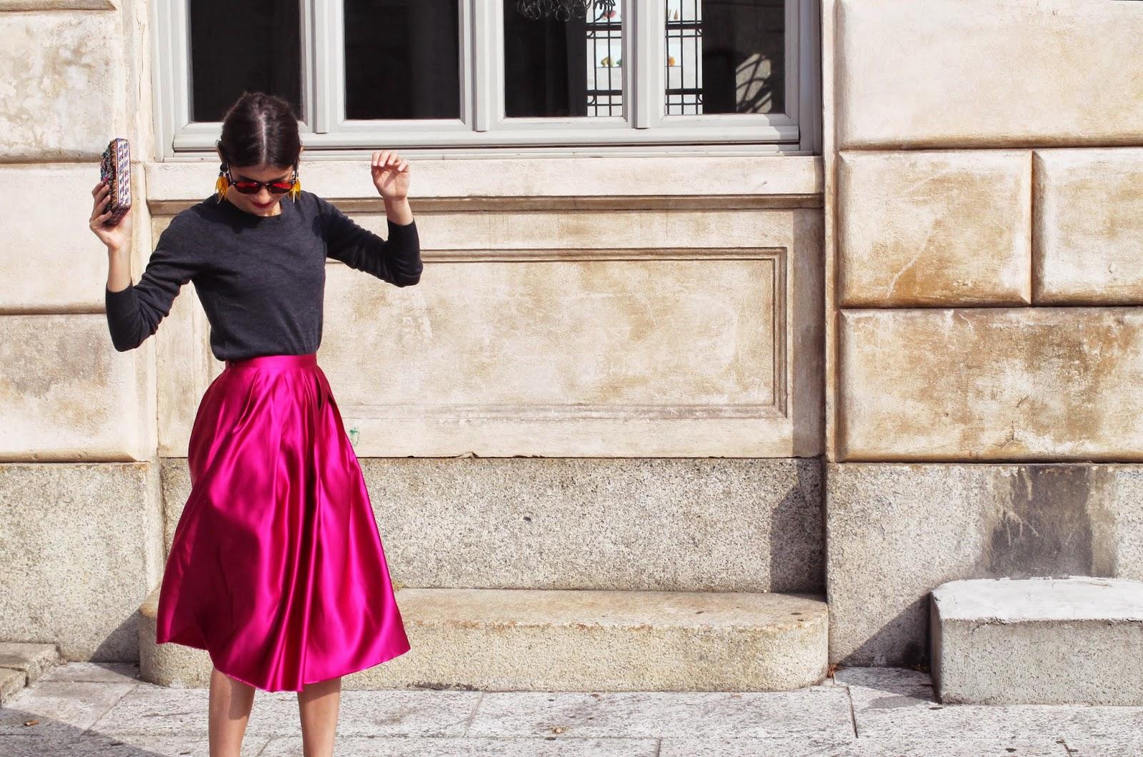 milan, milano, full skirt, magenta, outfit, street style, MFW, milan fashion week