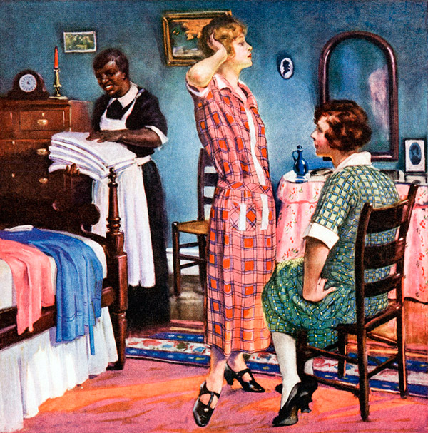 Housekeeper is amused seeing her employer's sons dressing pretty.