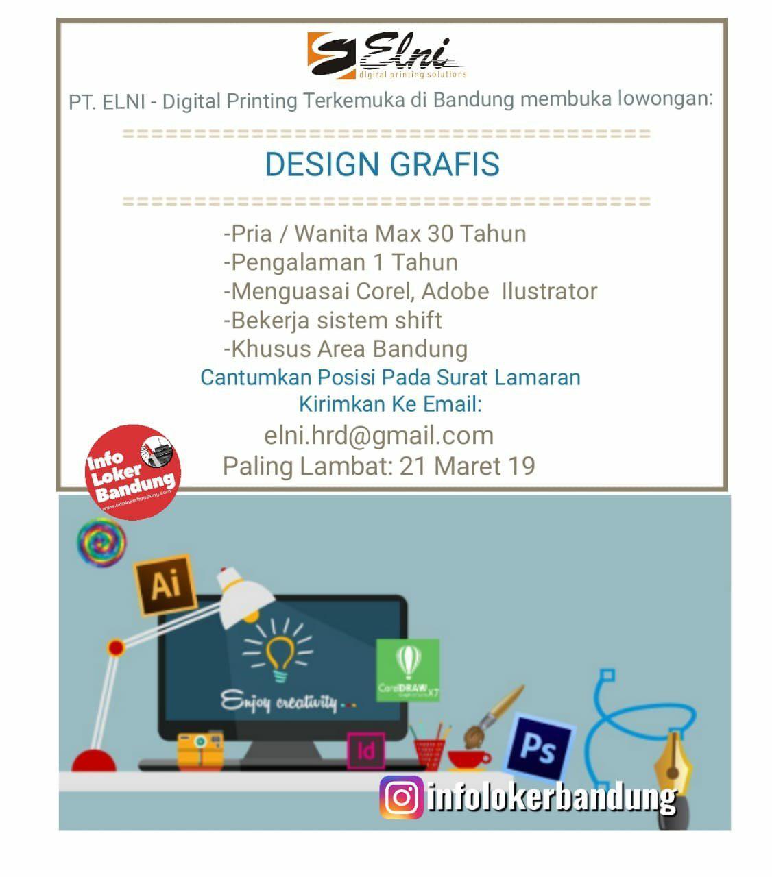 Lowongan Kerja Design Grafis PT.Elni Bandung Maret 2019