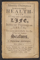 "A title page for ""Monthly Observations for the Preserving of Health, with a Long and Comfortable Life..."""