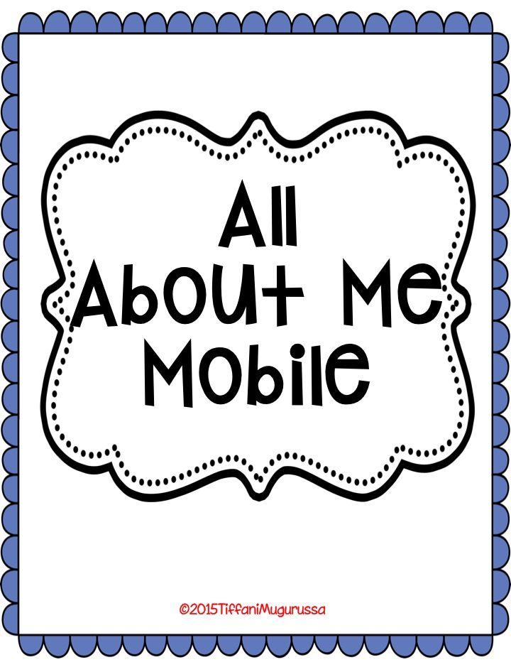 All About Me Mobile,kindergarten, Open House, Back to school