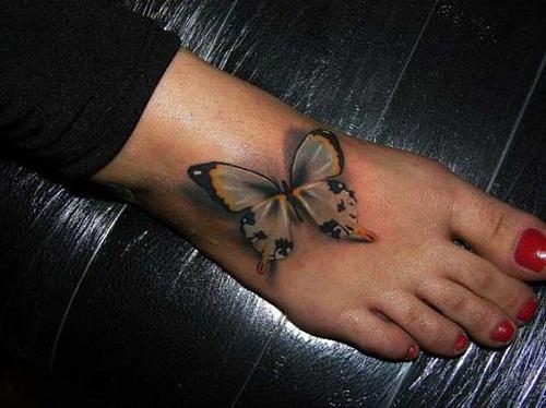 Cinza, Amarelo e Preto Borboletas no Pé da Tatuagem