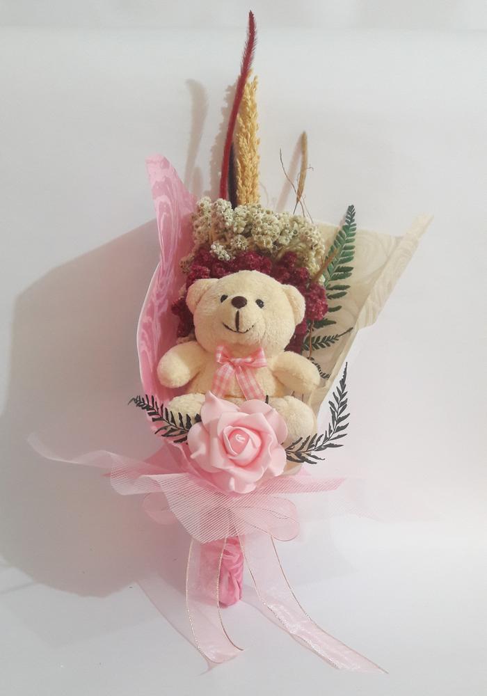 Buket Bunga Edelweis Dan Boneka Teddy Bear Pinky Bunga Edelweis Gift Souvenir Shop