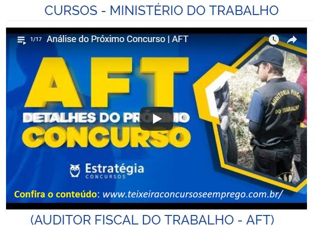 curso online Auditor Fiscal do Trabalho (AFT) Concurso do Ministério do Trabalho - MTE