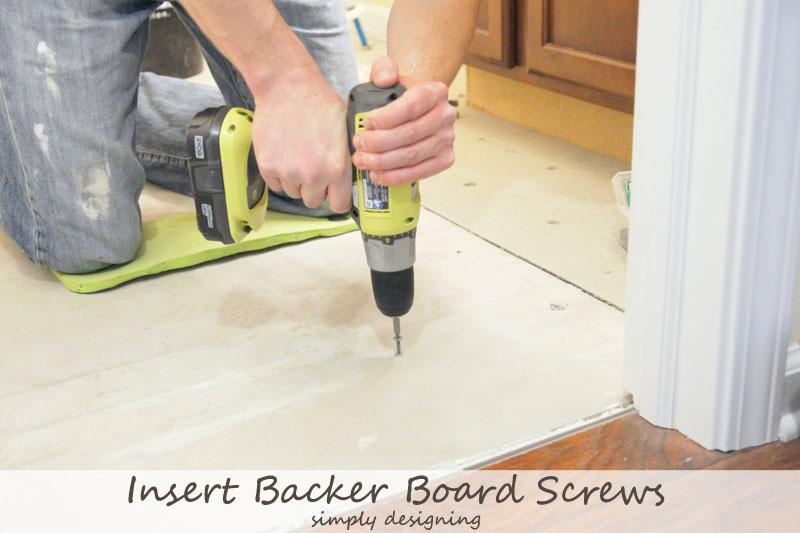 Secure screws into concrete backer board {Tile Installation: Part 2} #diy #tile #bathroomremodel #thetileshop @thetileshop