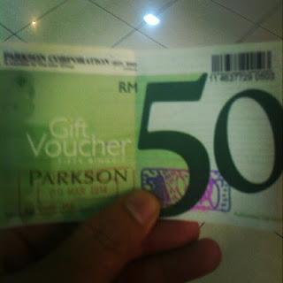 Tebus Mata Ganjaran Bonuslink di Parkson Untuk Baucer Tunai RM50