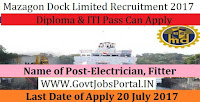 Mazagon Dock Limited Recruitment 2017– 279 Electrician, Fitter