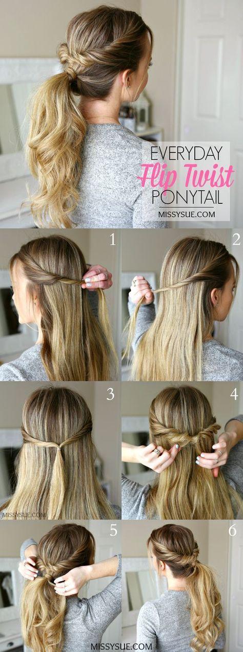 Easy Women's Hairstyles Everyday Flip Twist Ponytail