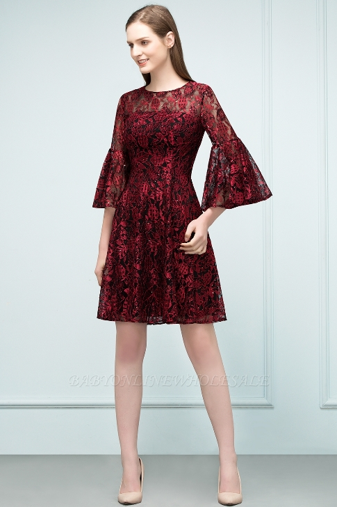 SUNNY | A-line Knee Length Lace Appliques Homecoming Dresses with Sleeves-Price: US$ 62.39