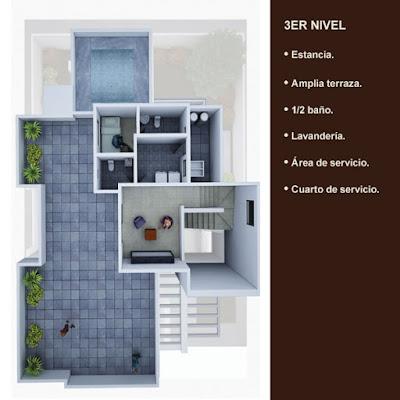 plano planta arquitectonica tercer nivel terraza