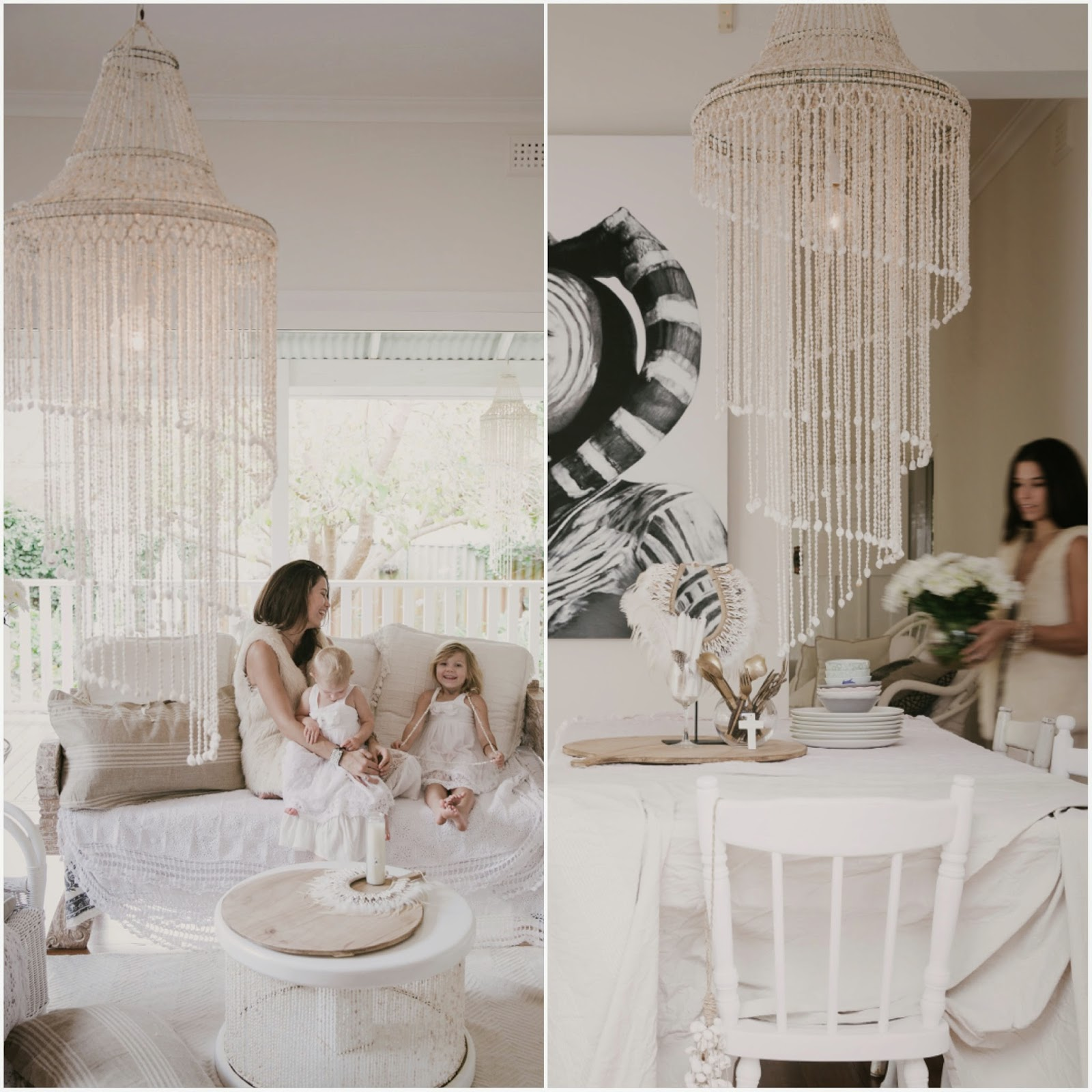 The Whisper Of Bohemian Glamour How To Style A Shell Chandelier
