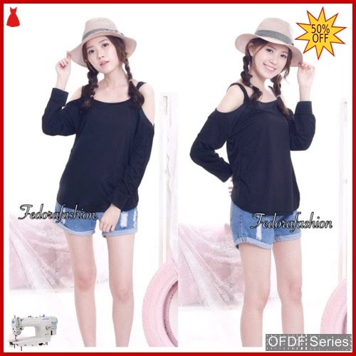 OFDF065 Atasan Blouse Off Knit Import shoulder BMGShop