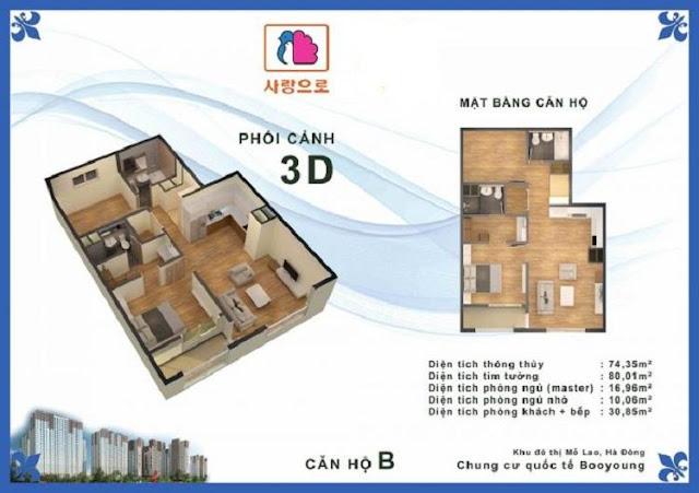 Căn hộ B chung cư Booyoung Vina Mỗ Lao