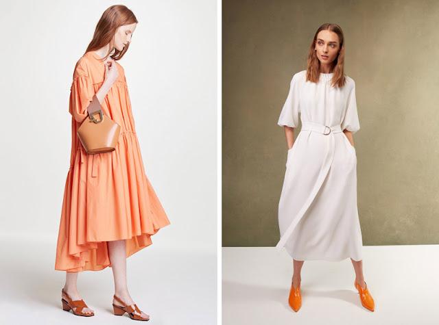 Девушка в современном широком и приталенном платье