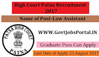 High Court Patna Recruitment 2017– Law Assistants