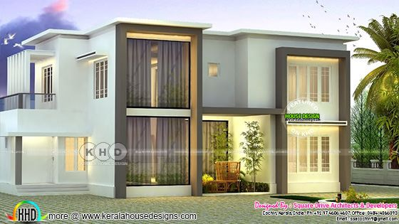 2000 sq-ft flat roof home plan with 4 bedrooms