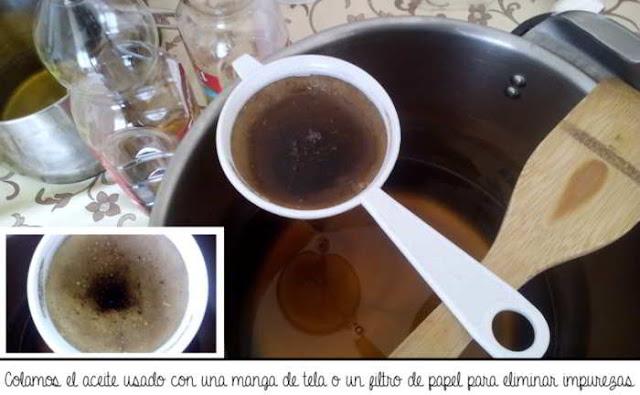 Como limpiar aceite reciclado con carbón vegetal para hacer jabón de uso doméstico