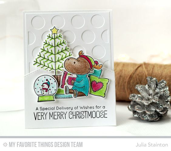 Handmade card from Julia Stainton featuring Birdie Brown Merry Christmoose stamp set and Die-namics, and Stitched Speech Bubble Edges Die-namics #mftstamps
