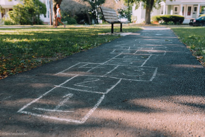 Portland, Maine USA July 2017 photo by Corey Templeton. Remnants of a hopscotch game in Longfellow Park (out in the Oakdale neighborhood of Portland).