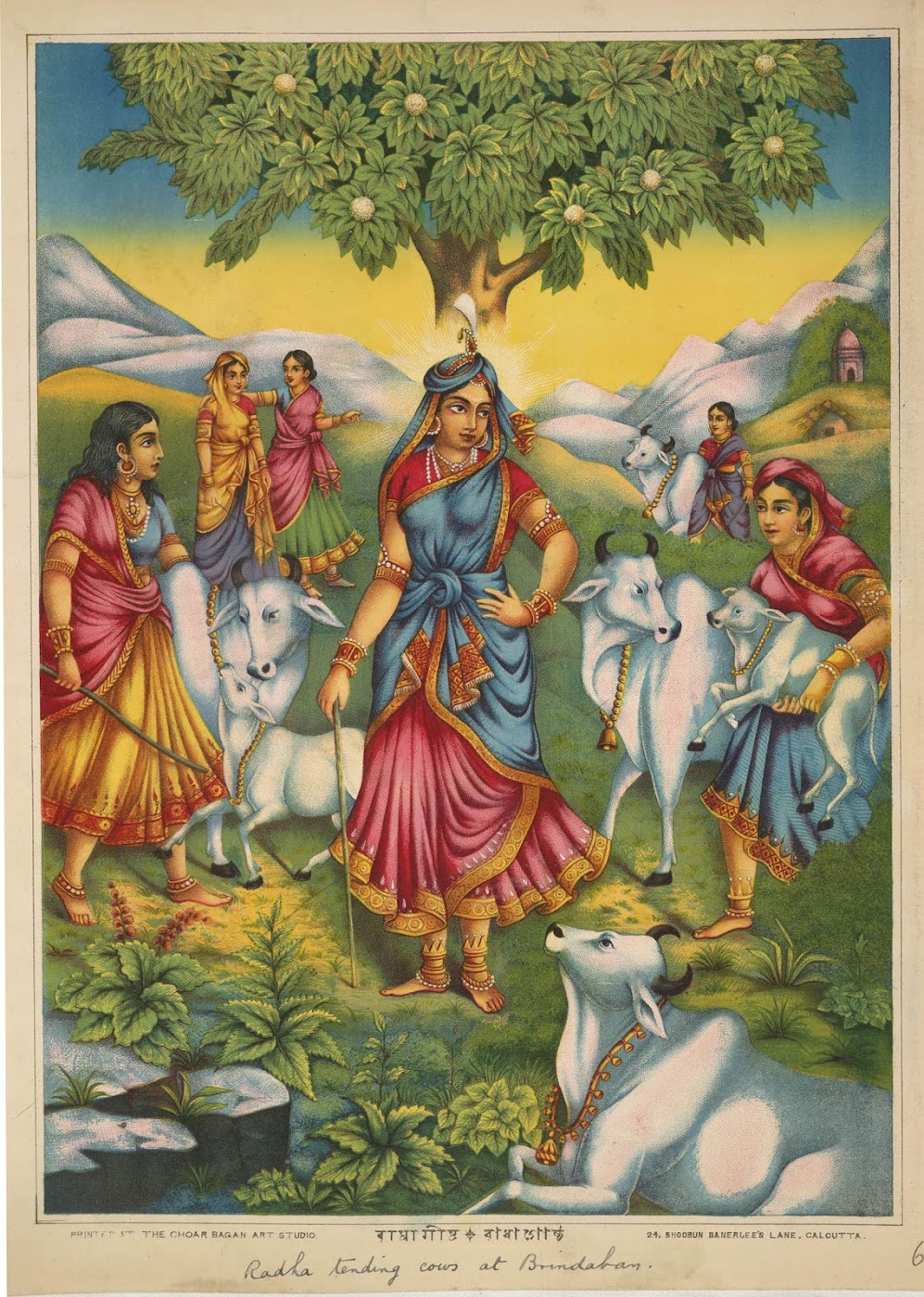 Radha Tending Cows in Vrindavan, stands Beneath a Flowering Kadamba Tree and is Accompanied by other Gopis - Printed by Chore Bagan Art Studio, Calcutta (Kolkata), Circa 1895