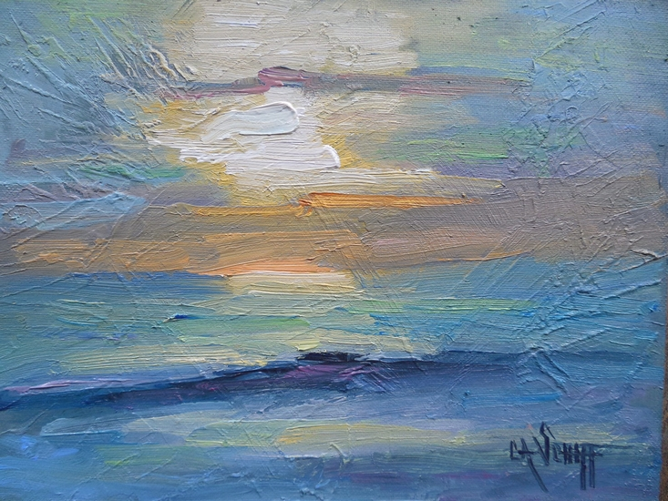 Palette Knife Painters International Small Seascape Sunset Painting Daily Oil 6x8 Impasto